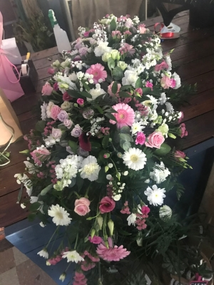 White and Pink Casket Spray