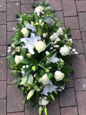 White Lily and Rose Casket Spray