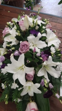 White and Lilac Casket Spray