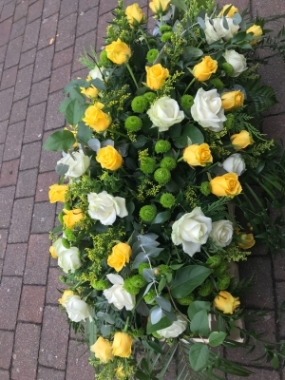 White and Yellow Rose Casket Spray
