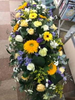 Yellow, White and Lilac Casket Spray